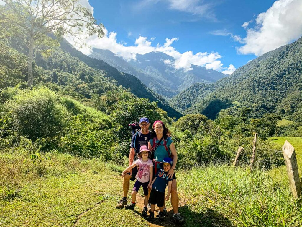A family stops to enjoy the views on the Lost City Trek, Colombia