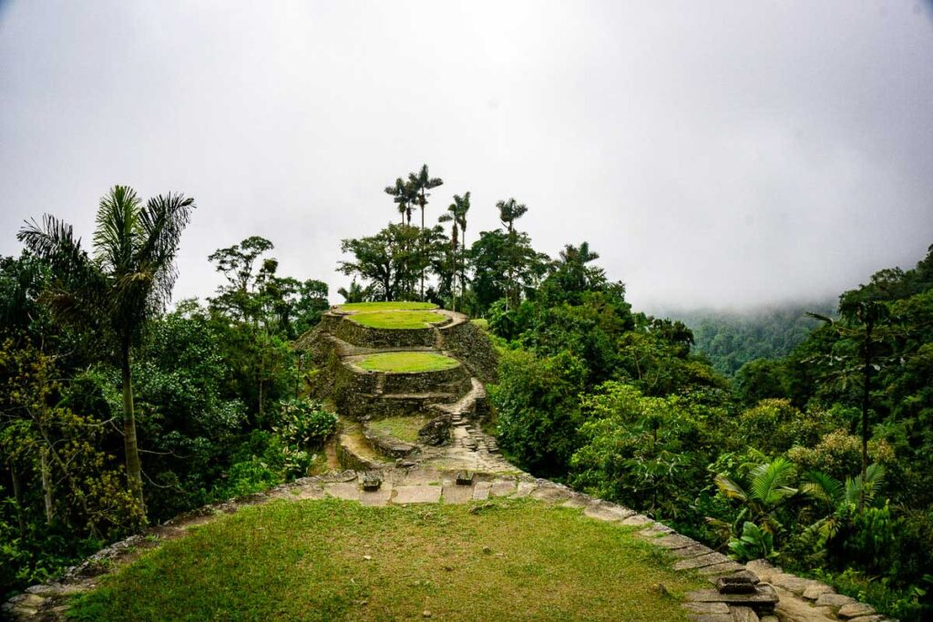 A view of Ciudad Perdida on a misty Colombian afternoon