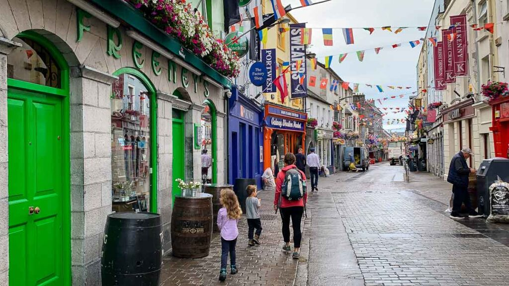 walking Quay Street in Galway Ireland with kids
