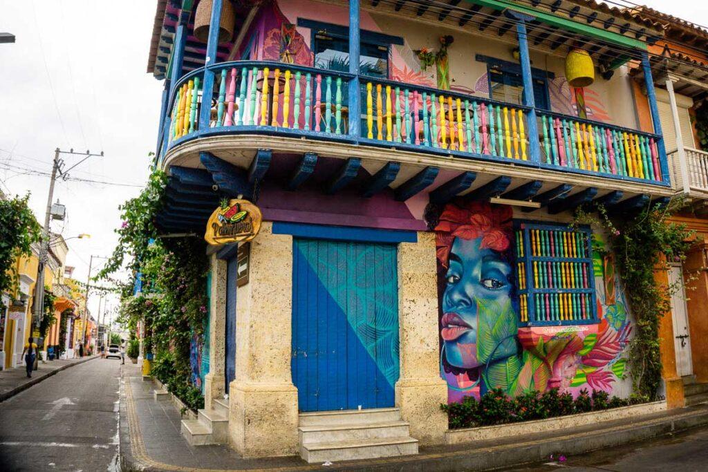 A brightly colored building in Getsemani, Cartagena