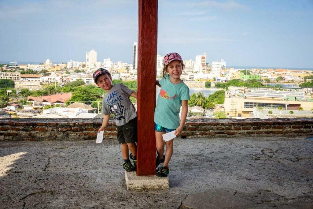 Kids having fun at Castillo de San Felipe de Barajas, Colombia