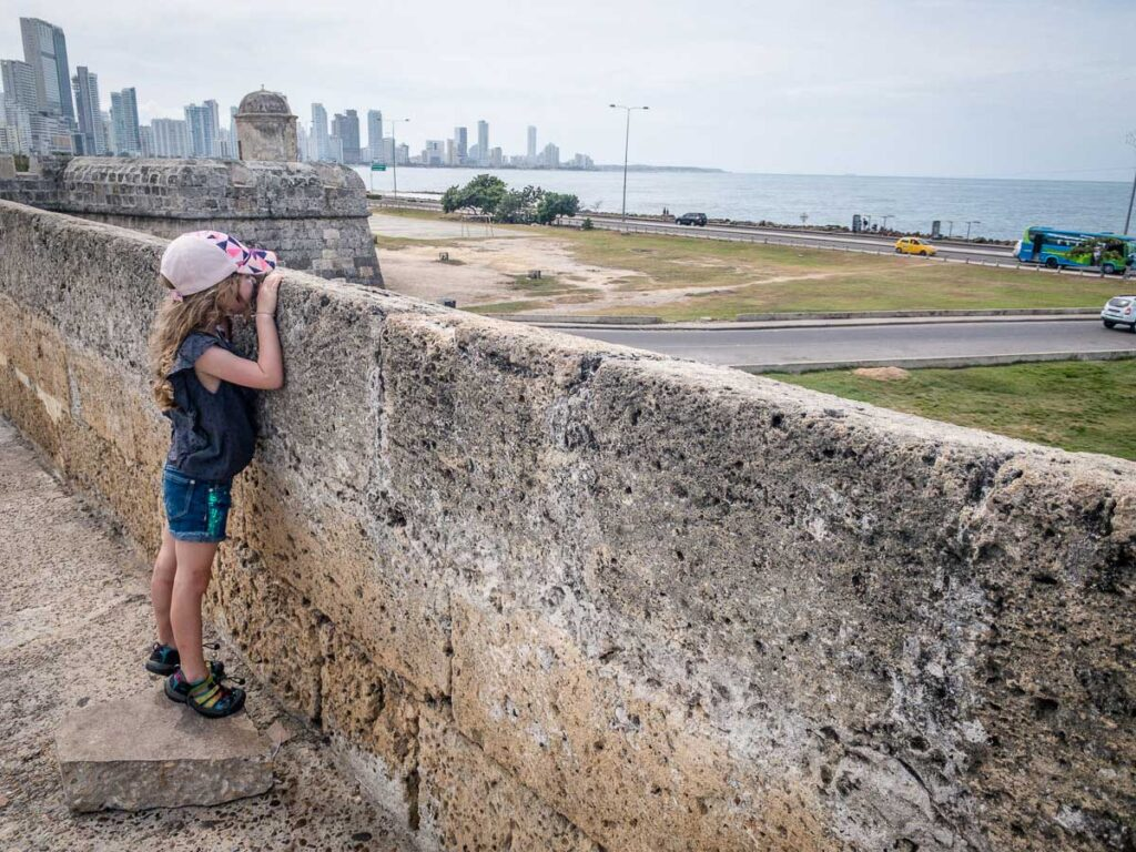 Looking at the Caribbean views over the Cartagena city walls