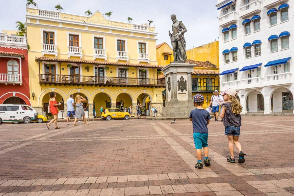 The Monumento Pedro de Heredia in Cartagena's Old Town