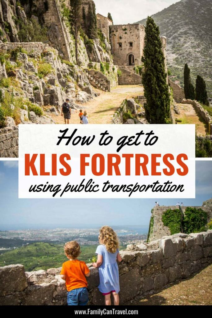 Getting to the Klis Fortress in Split Croatia is not straight forward. We explain how to read the bus schedule and include exactly what you need to make the trip easy! #familytravel #croatia #splitcroatia #klisfortress #travelwithkids #toddlertravel
