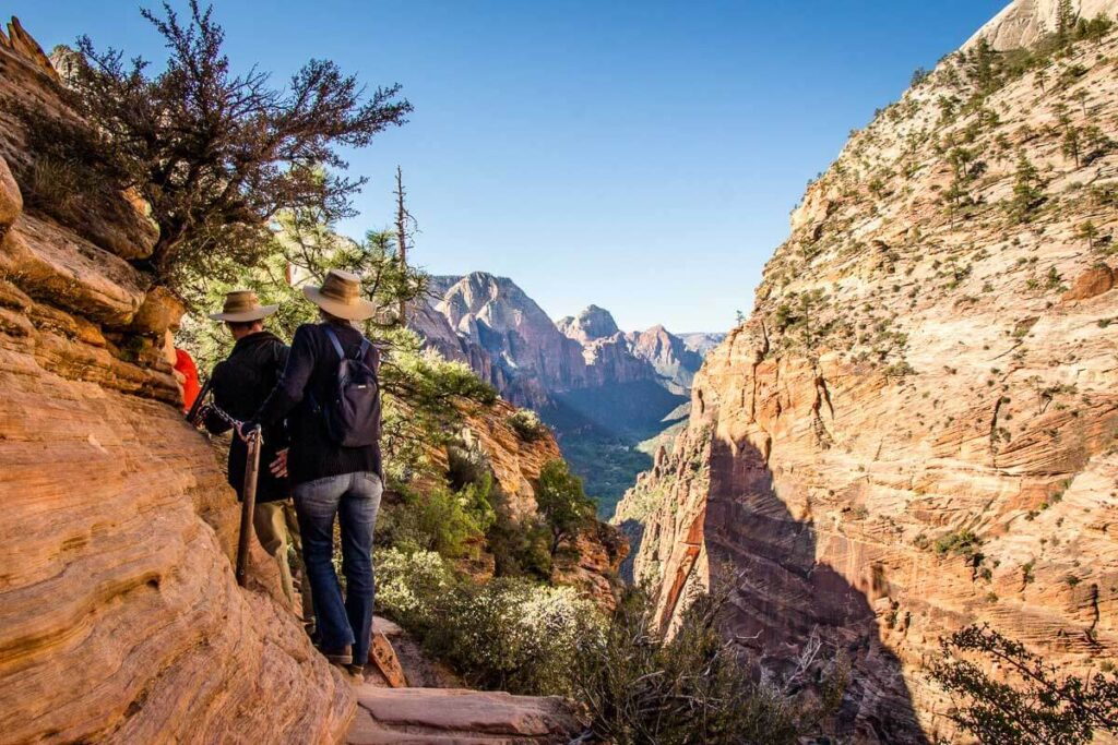 image of hiking using chains on Angels Landing trail in Zion NP