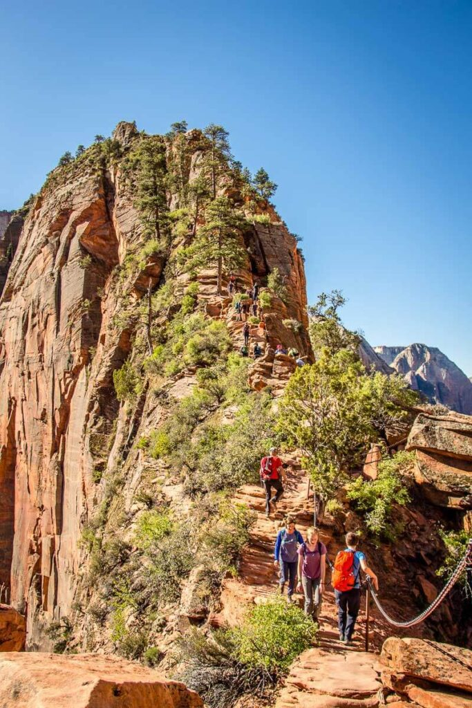 image of hikers on the hogsback on Angels Landing hike in Zion NP
