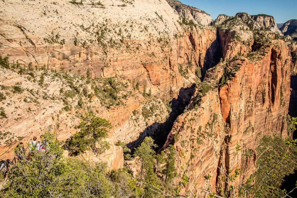 View of Refrigerator Canyon and Scout Lookout from Angels Landing trail Zion hike