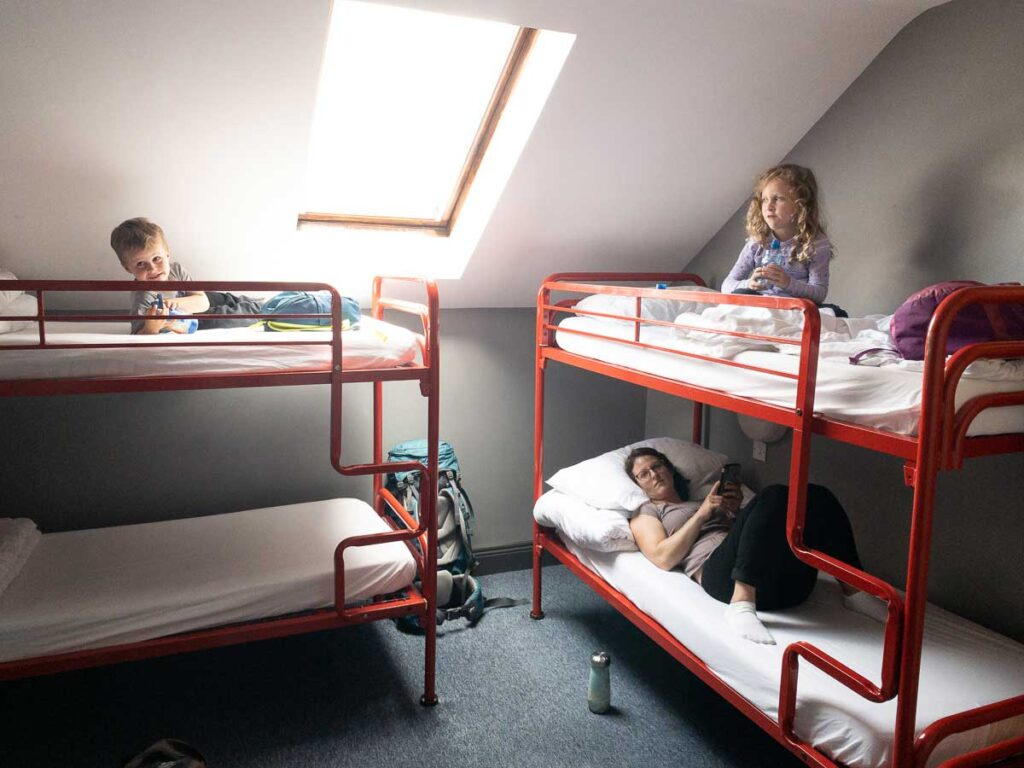 image of family room in hostel in galway ireland with bunk beds