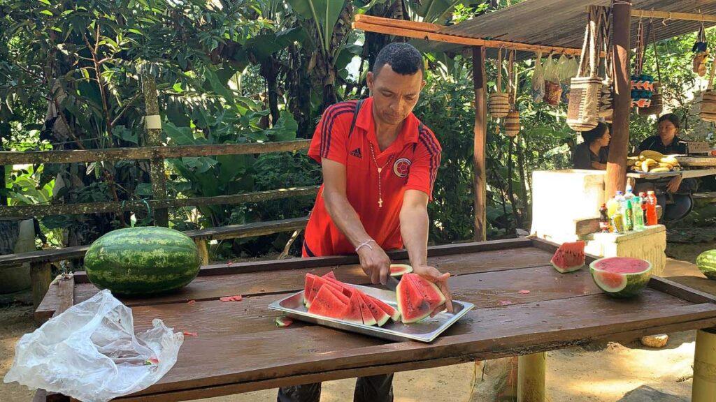 the watermelon snacks on the Ciudad Perdida trek were so refreshing