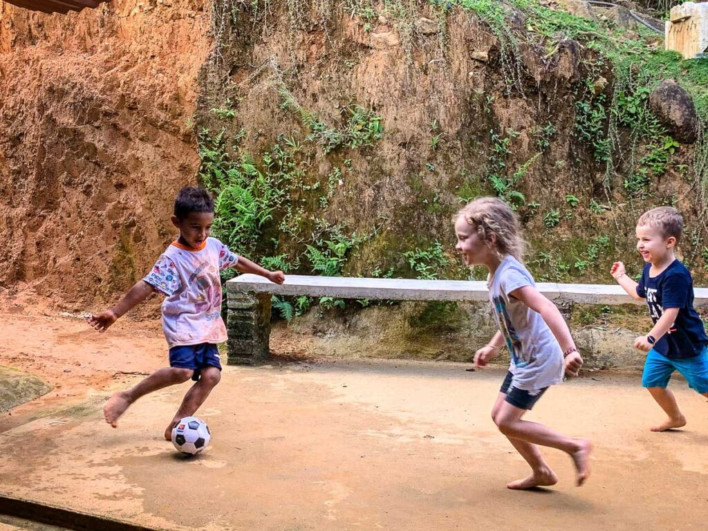 A Canada vs Colombia soccer match while hiking Ciudad Perdida with kids