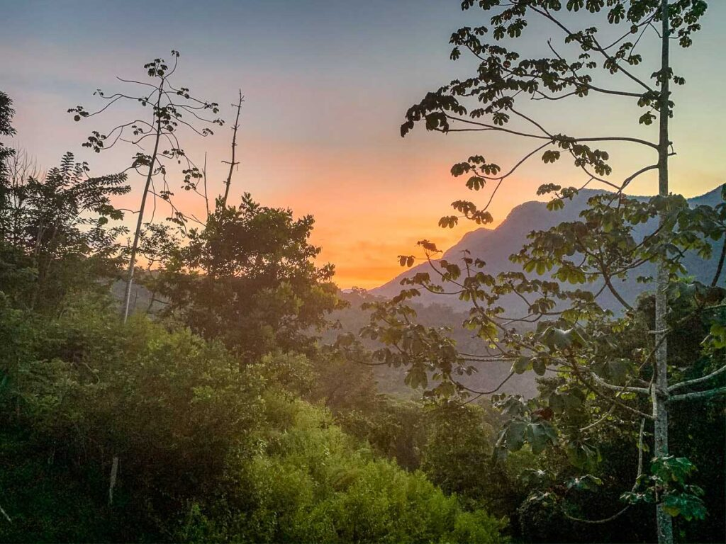 Sunrise over the Sierra Nevada mountains, while hiking the Lost City trail Colombia