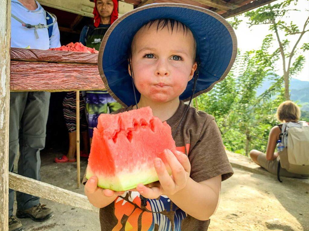 Enjoying a watermelon snack