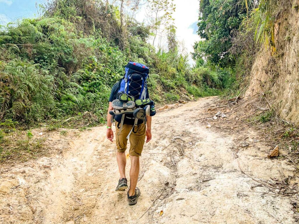 Carring a large backpack on the Lost City Colombia hike