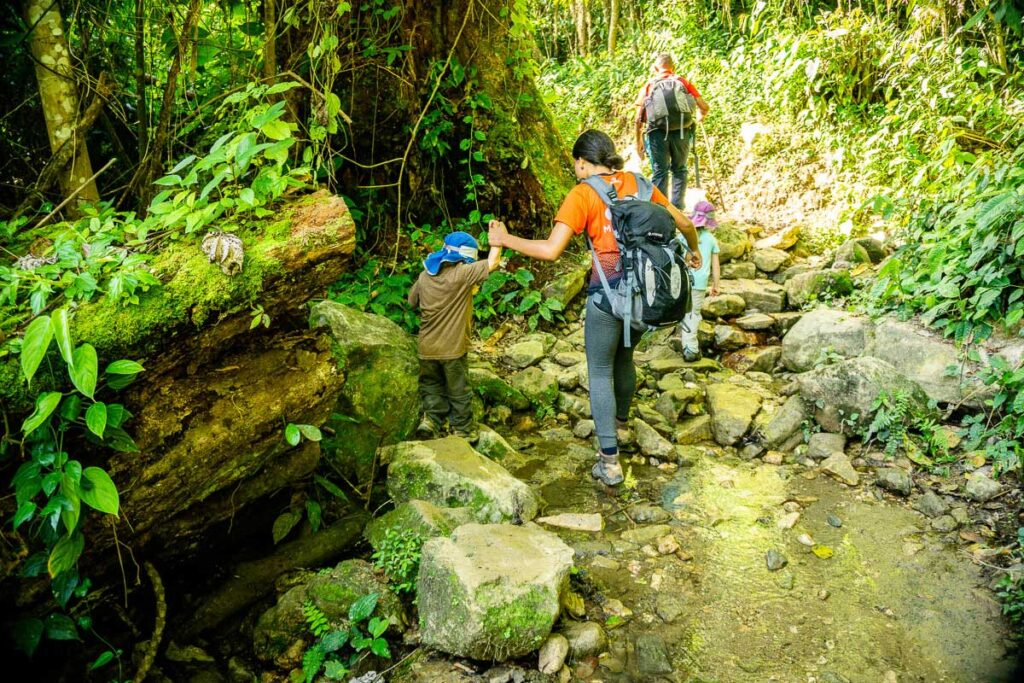 The Lost City trail get get rocky and muddy