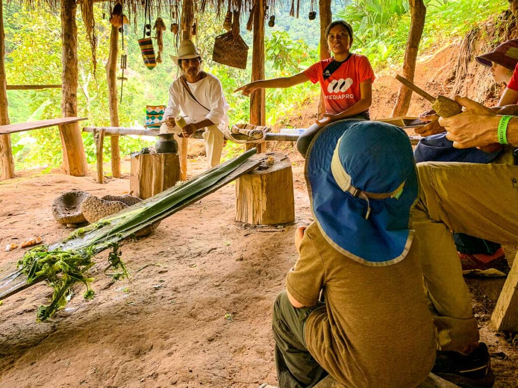 Learing about local culture while trekking Lost City with kids