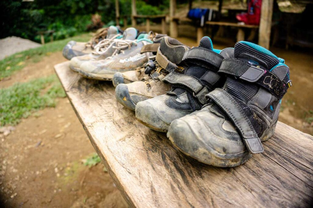 Our well used hiking shoes on the hike to the Lost City Colombia