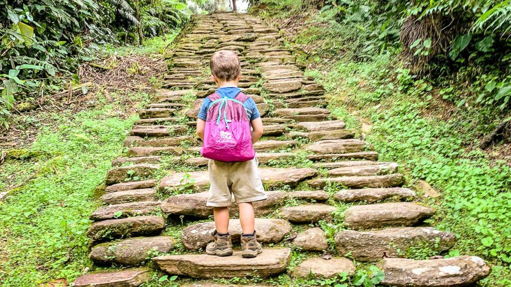a 4-year old climbs the 1200 stairs to Ciudad Perdida