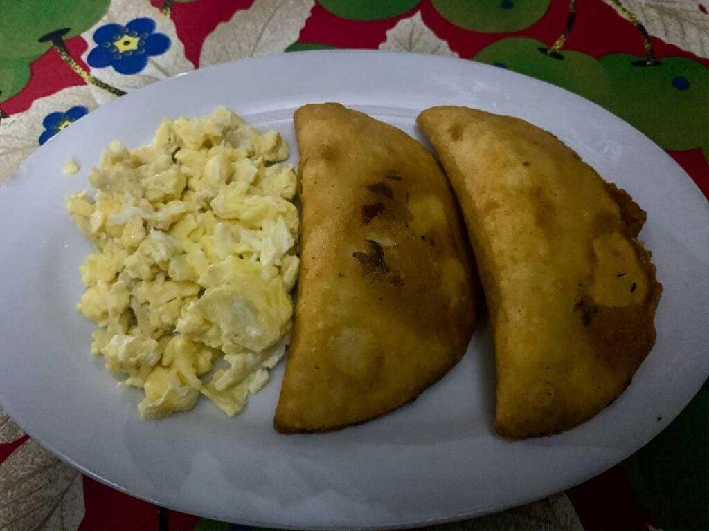 Empanadas and scrambled eggs for breakfast on the Lost City trek