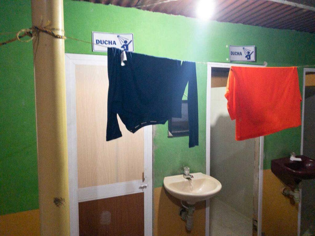 the shower stalls at Ciudad Perdida camp 1