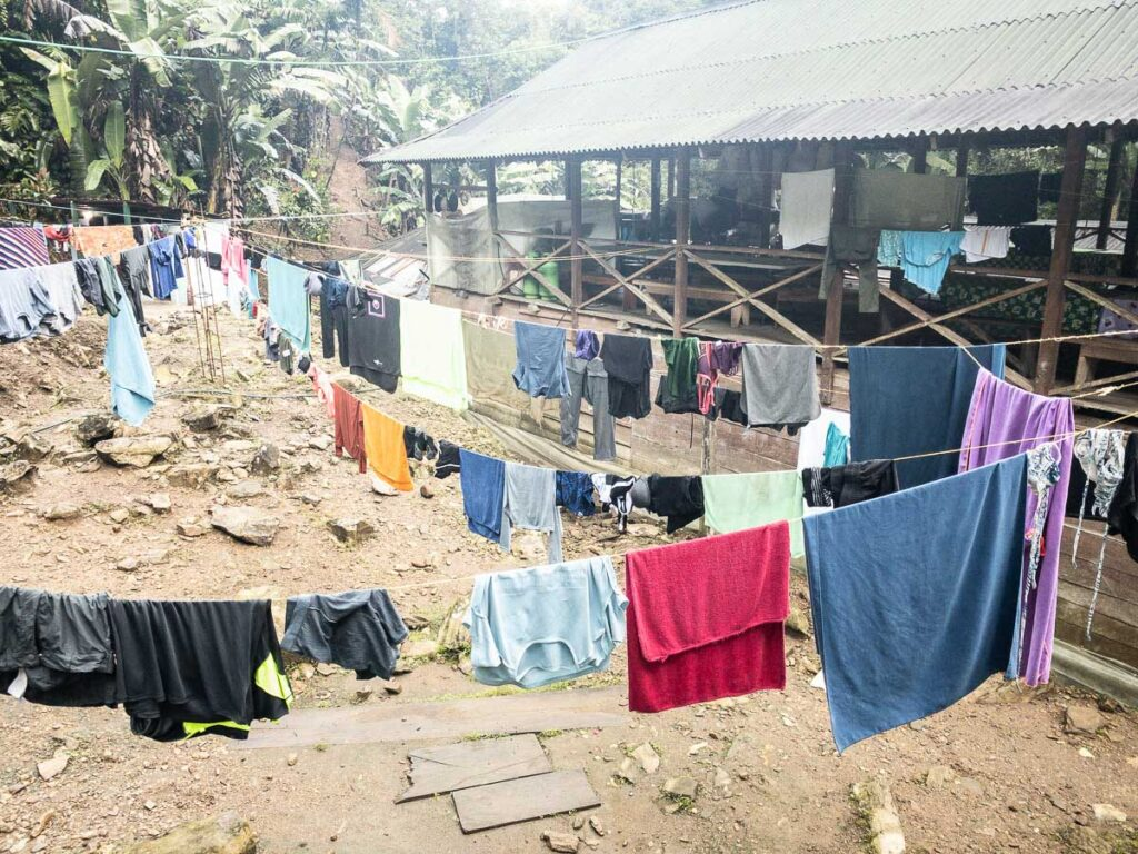 clothes hanging to dry at the Lost City camps