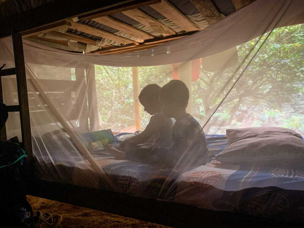 mosquito netting around a bed at Camp 1 on the Ciudad Perdida trail