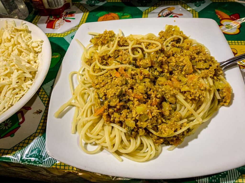 the spagehtti with meat sauce was one of our favorite lunches on the Lost City Colombia hike