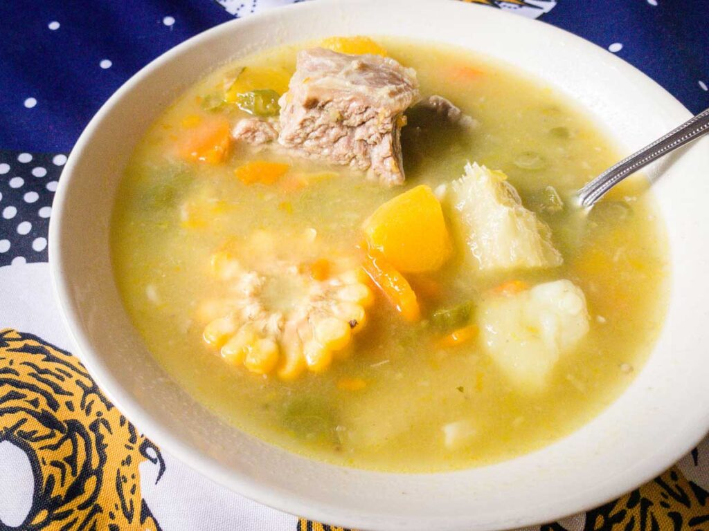 root vegetable soup is a hearty lunch after a morning of hiking the Ciudad Perdida trail