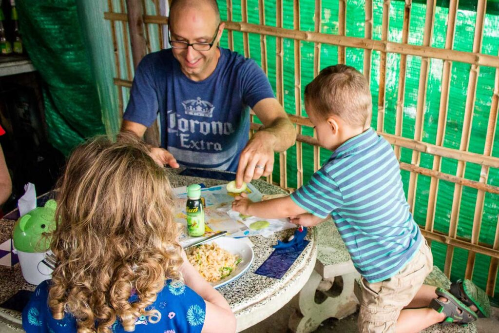 Sharing peeled cucumbers with a picky eater in Thailand