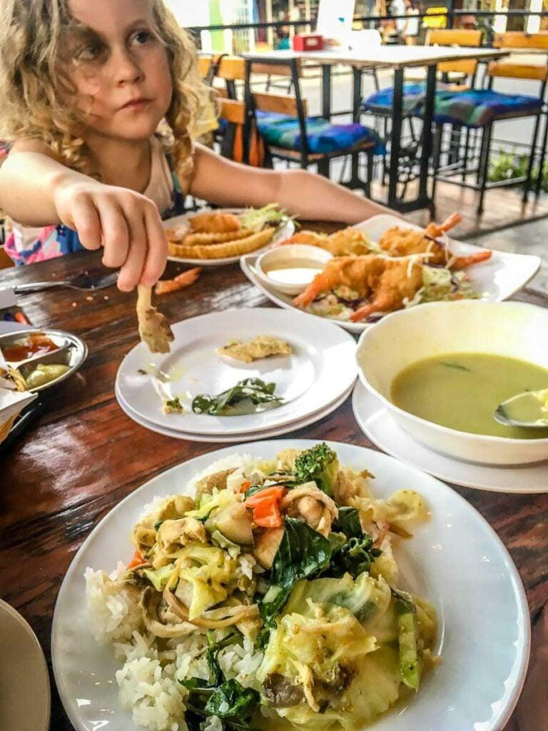 Typical restaurant food eaten in thailand
