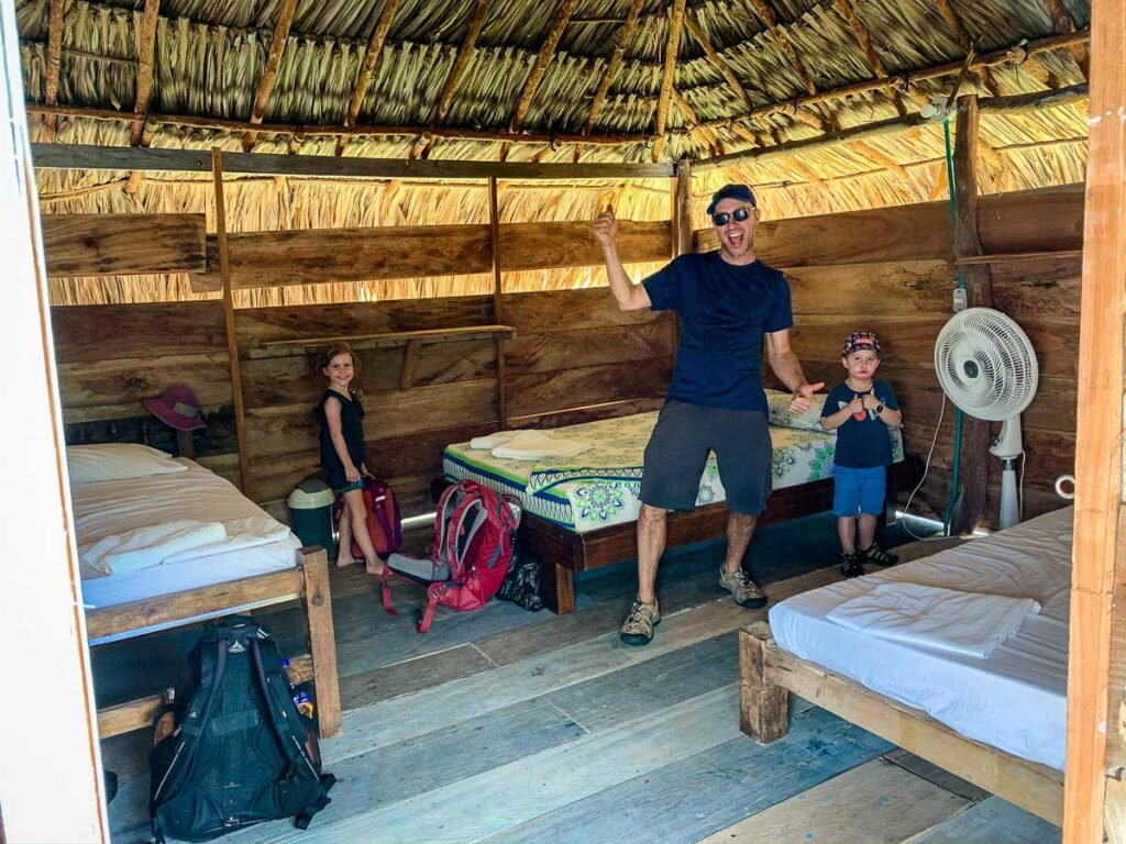 The Family Can Travel gang enjoy their Family Hut at the Dahalandia resort on Isla Mucura, Colombia
