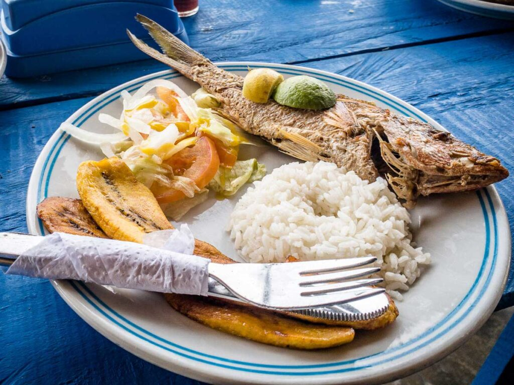 A typical lunch served at the Dahlandia hotel on Isla Mucura, Colombia