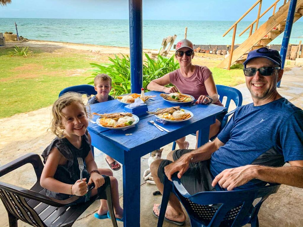 Caribbean seaside dining at Dahlandia, Colombia