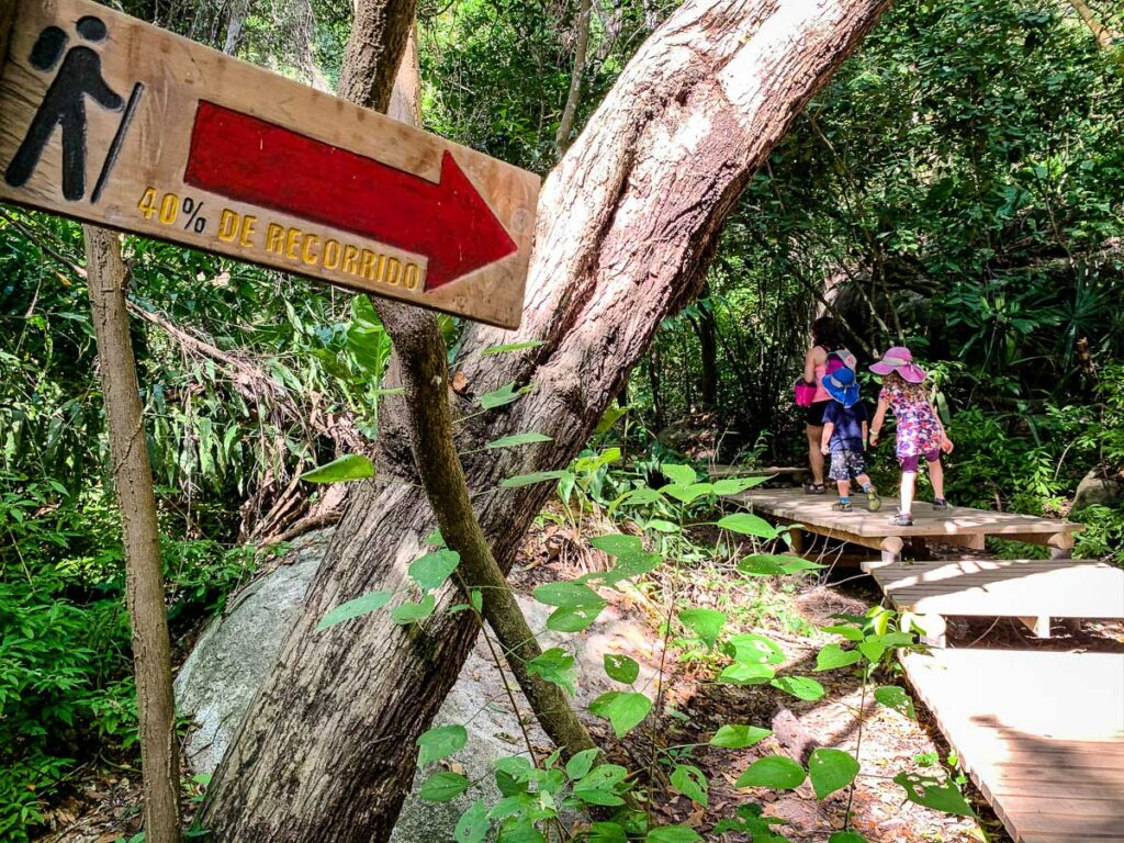 The kids loved the wooden walkways through the jungle in Tayrona National Park on our way to Cabo San Juan