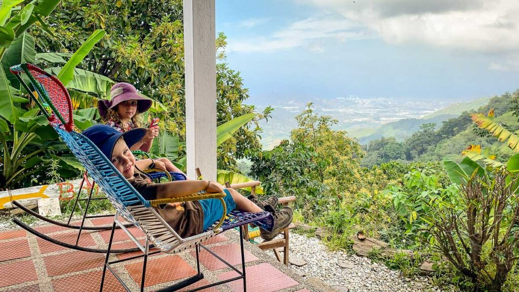 The cafe at the La Calendaria coffee & cacao farm has incredible views