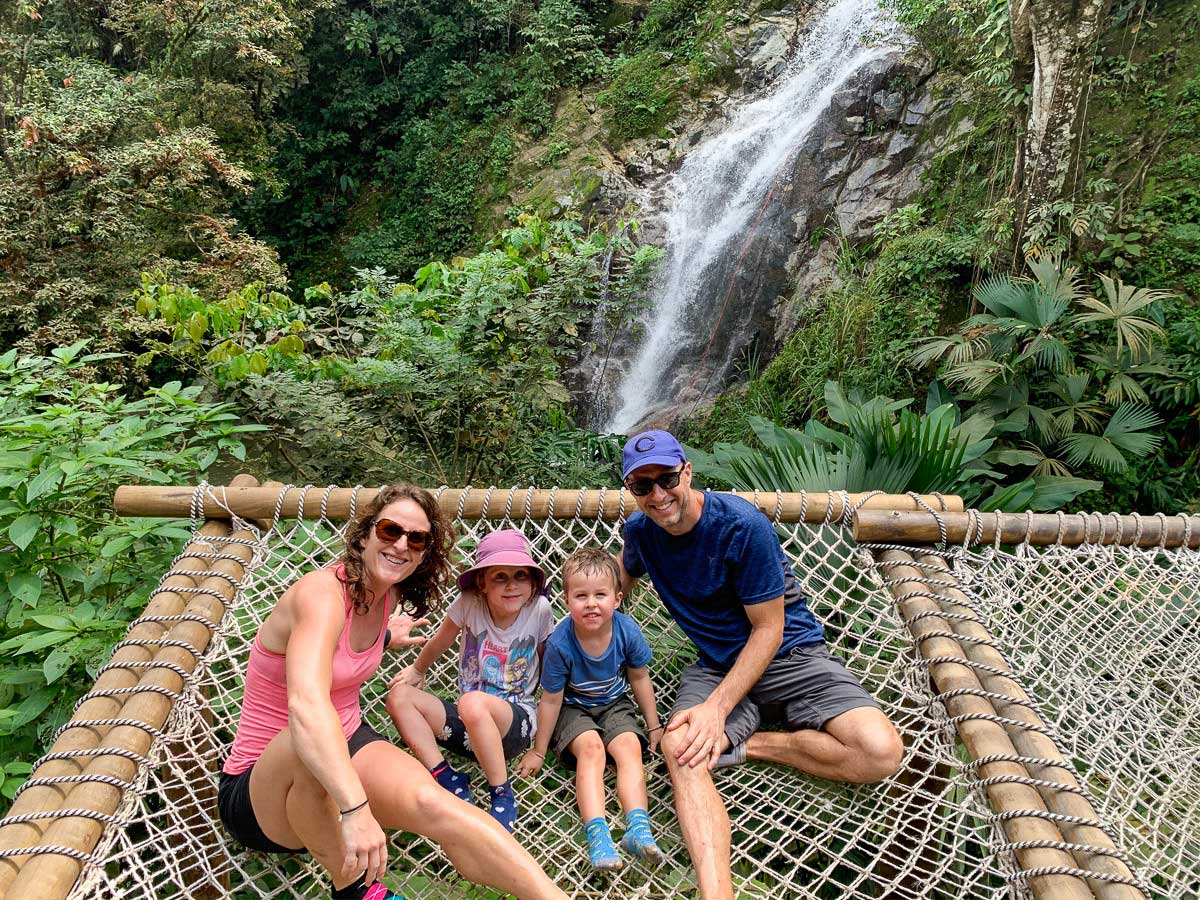 The kids loved the family-sized hammocks at the Marinka Waterfalls