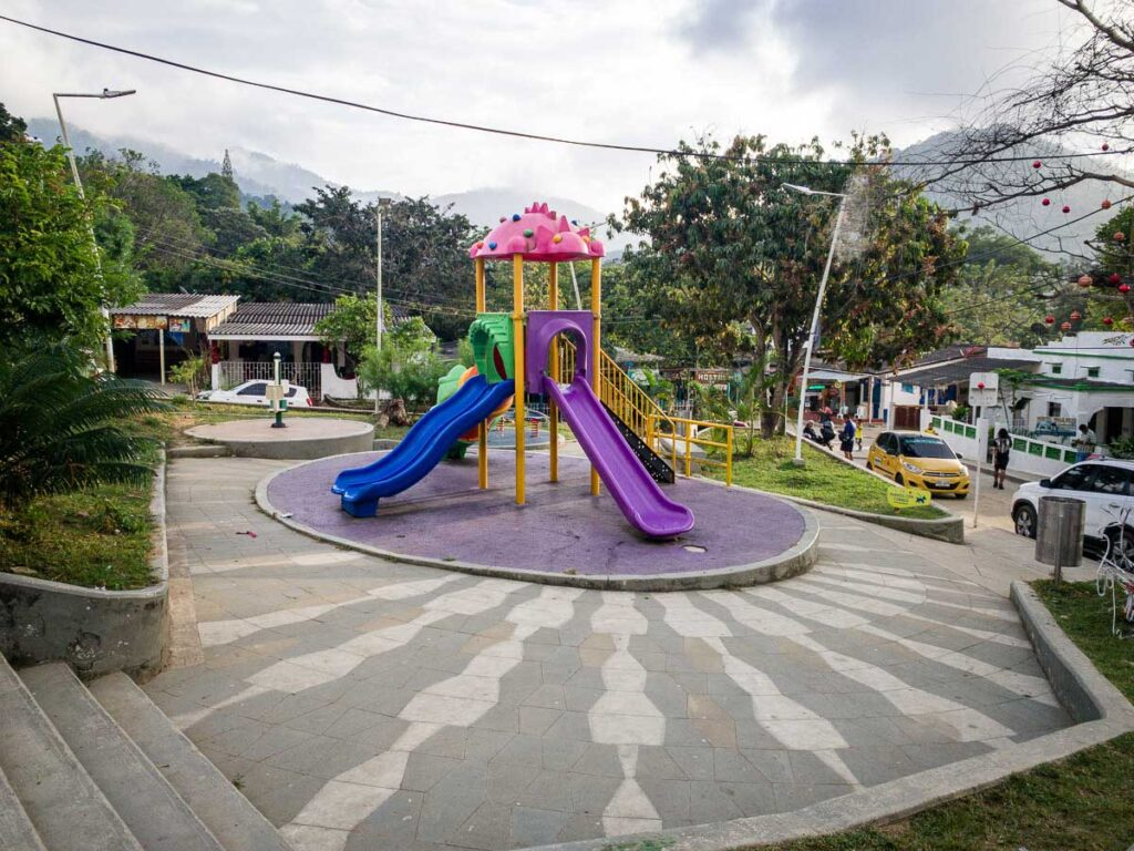 We were impressed by the brand new playground in front of Minca's church