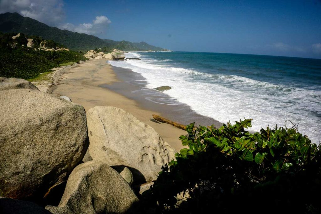 You'll pass many scenic Caribbean beaches in Tayrona Colombia