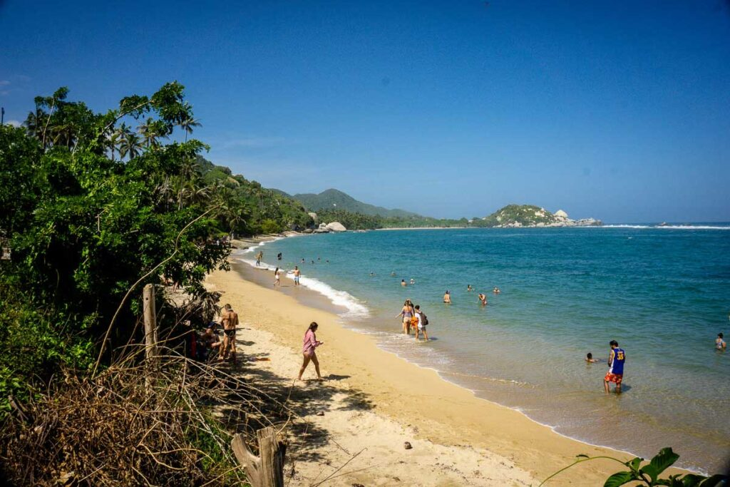 One of the popular Caribbean beaches in Tayrona National Park Colombia