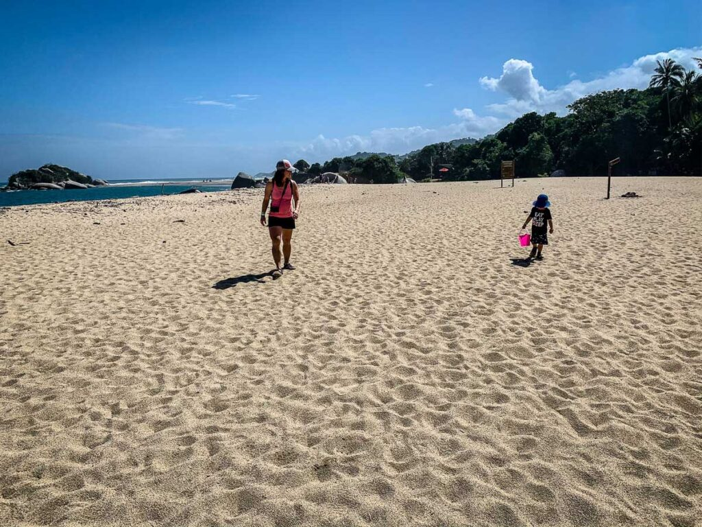 A family hike in Tayrona National Park includes many walks on the beach