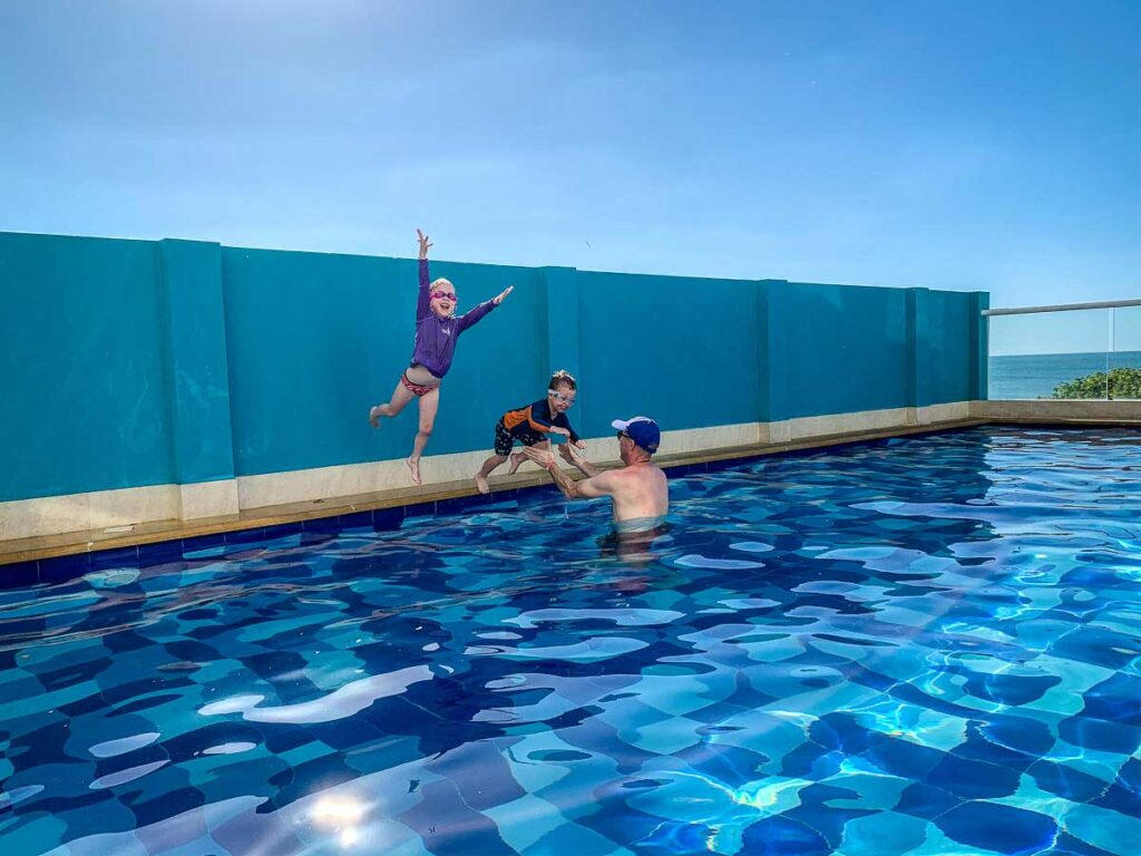 After a long trip to Colombia from Canada, our kids enjoyed playing at the pool at our Rodadero apartment rental