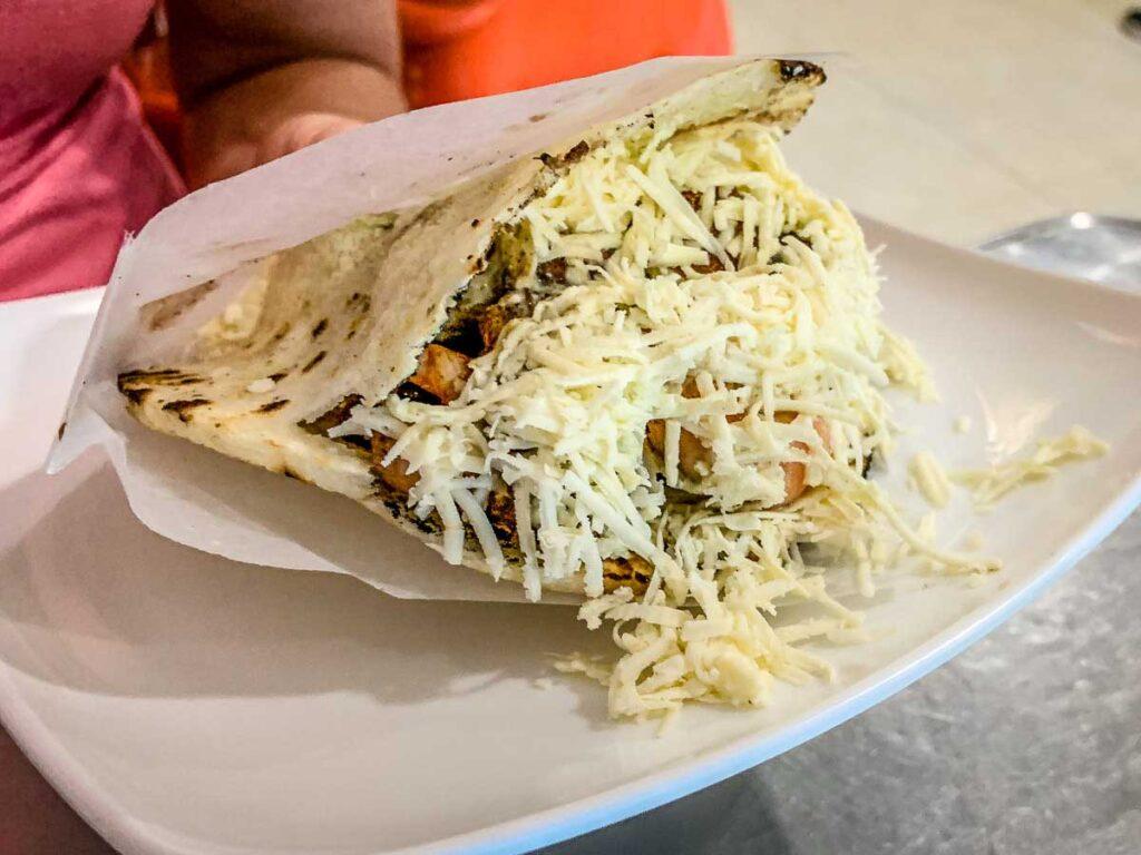 The Mexicano arepas at Patacones in Rodadero were delcious.