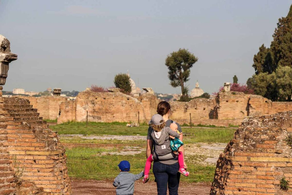 During our 7 days in Rome with kids, we tried to find open spaces for our children to walk