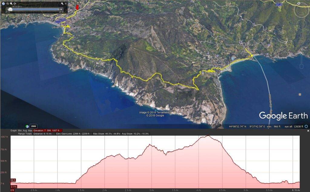 A Cinque Terre hiking map of the Levano to Monterosso hike - GPS data imported into Google Earth