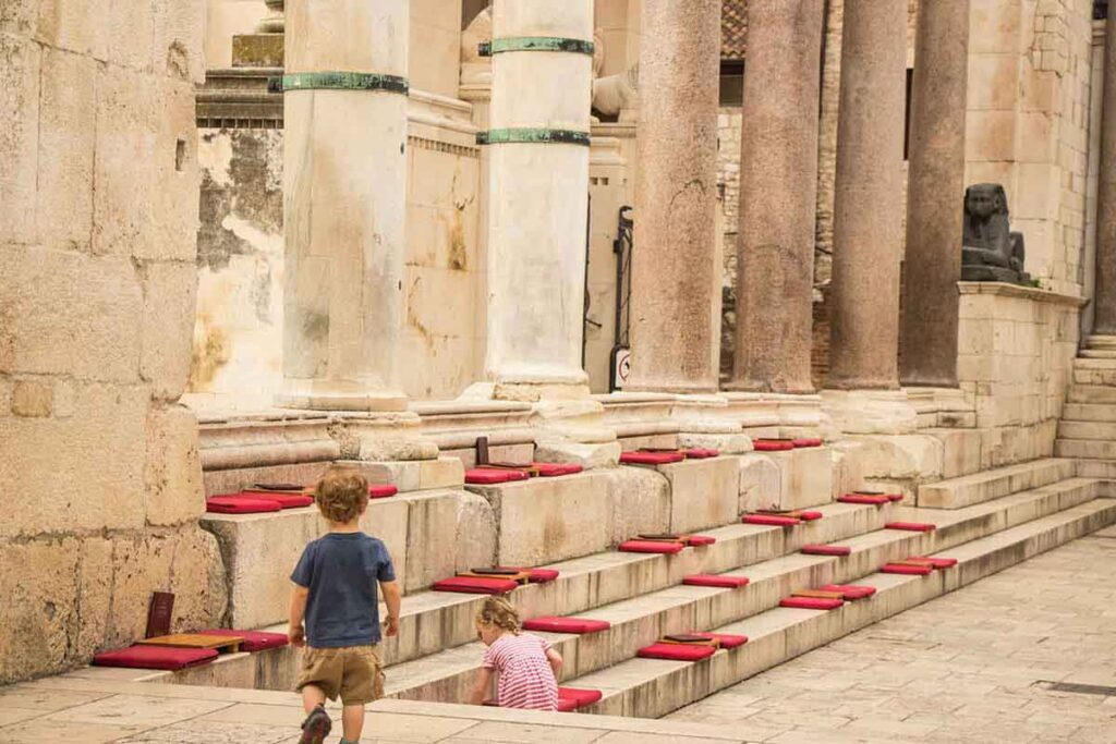 Visiting Diocletian's Place in Split with kids