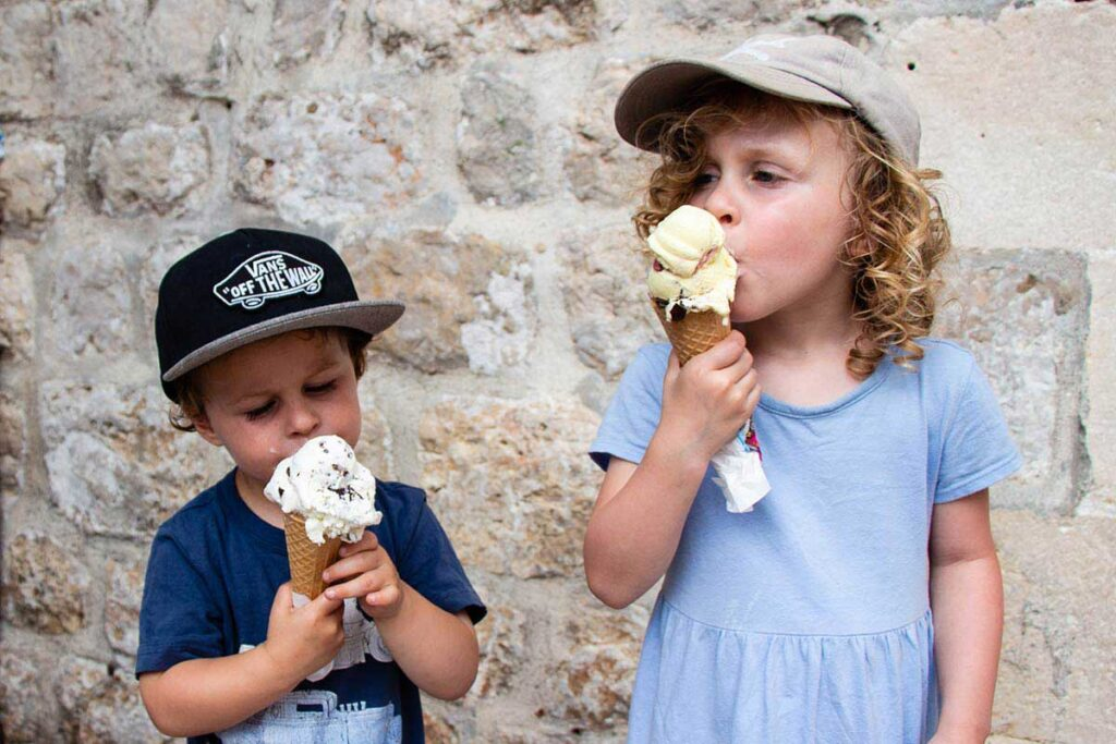 Eating Ice Cream after walking city walls of Dubrovnik with toddlers