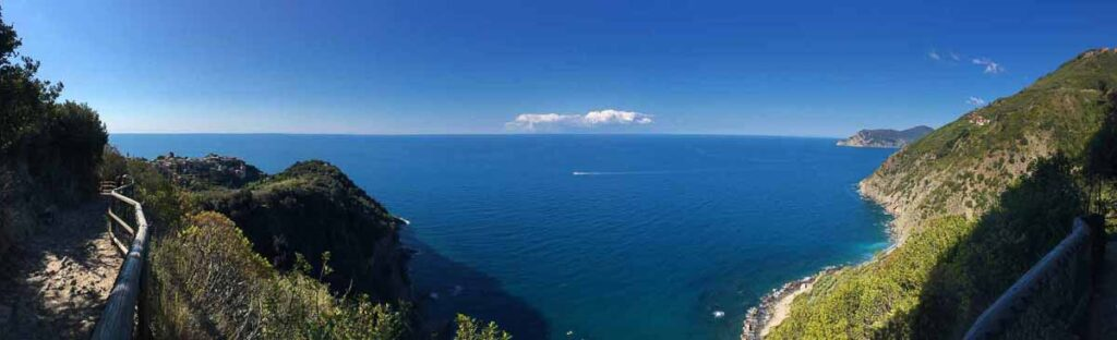Panoramic photograph of the view from the Vernazza to Corniglia hike in Cinque Terre
