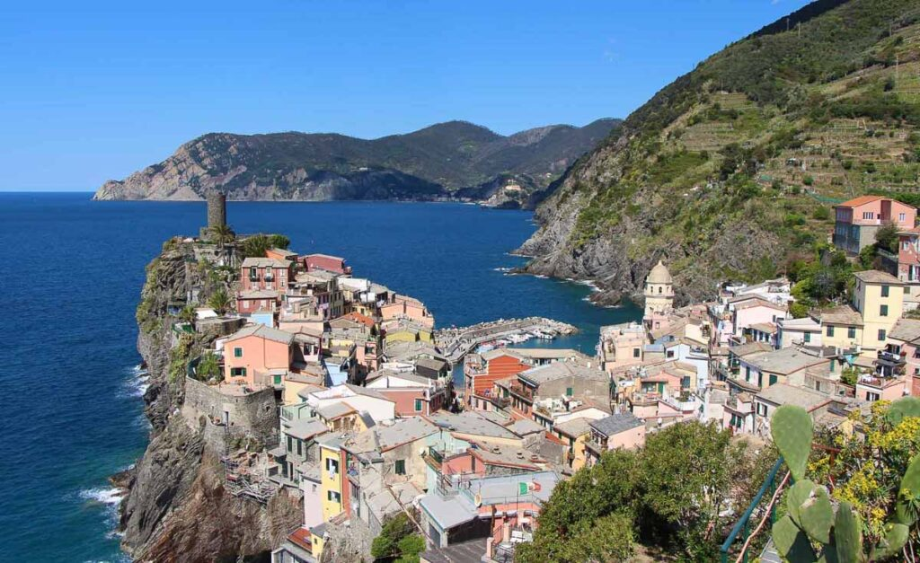 View of Vernazza Cinque Terre from the Corniglia to Vernazza hike