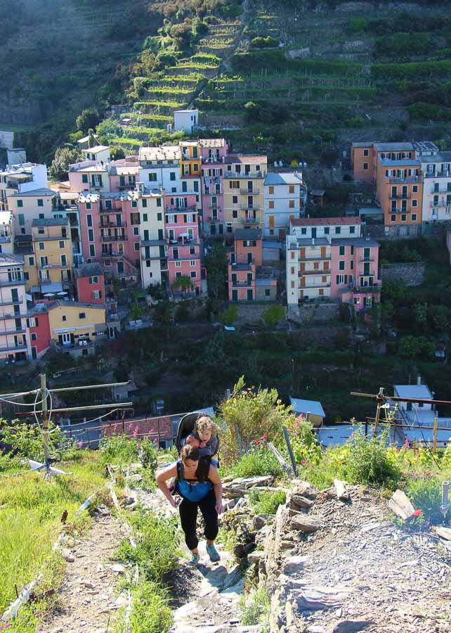 Many of the Cinque Terre hiking trails are steep, so when hiking Cinque Terre with a toddler you will need a backpack carrier