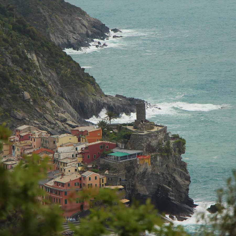 Vernazza, Italy as seen from the Vernazza to Monterosso trail in Cinque Terre