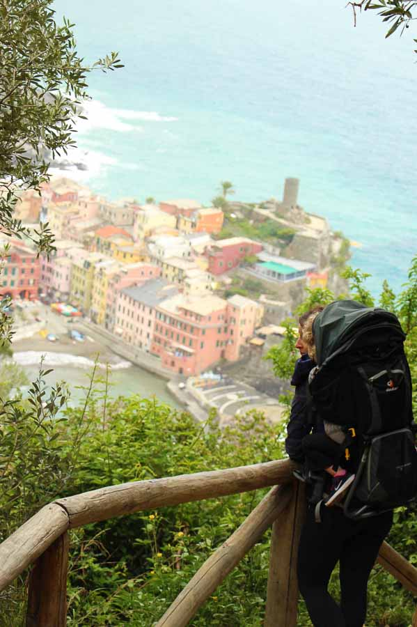 A good backpack carrier is essential hiking gear when visiting Cinque Terre with a toddler